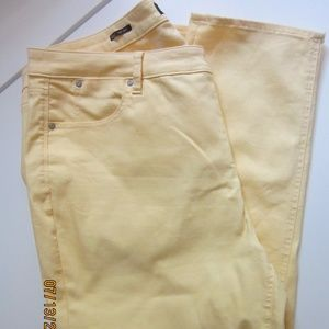 TALBOTS  22WP WOMANS PETITE  YELLOW JEAN SLIM ANKL